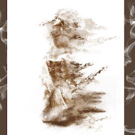 Nacona Smoke by Paula Fankhauser - Digital Art People ( abstract, face, sepia, girl, female, art, portrait, smoke )