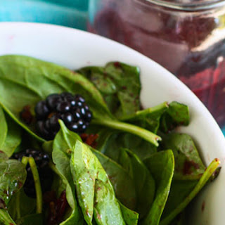 Spinach Salad with Candied Bacon and Fresh Blackberry Vinaigrette