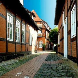 Gasse leading to Langestr. (Nienburg's main street). by Chris Bowerbank - Novices Only Objects & Still Life