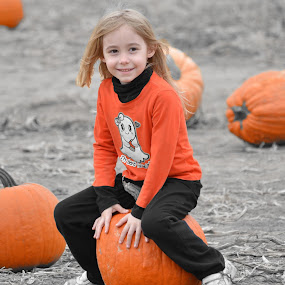 My Pumpkin by Mark Lendacky - Babies & Children Children Candids ( field, orange, girl, pumpkin, patch )