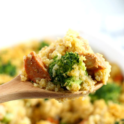 Cheesy Broccoli Quinoa Sausage Casserole.