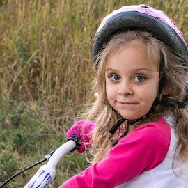 Little Girl got a new Bike by Chad Roberts - Babies & Children Children Candids ( bike, girl, little, fun, helmet, pretty )