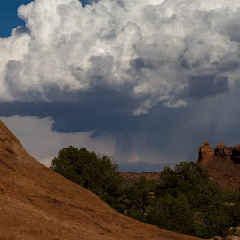 Storm Over Arches National Park by Beth Staub - Landscapes Weather ( stormy, clouds, monsoons, monsoon, arches national park, color, utah, arches, cloud, storm, rain, nationalpark )