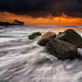 Rocks & Waves by Eggy Sayoga - Landscapes Beaches ( bali, ketewel, manyar, pantai, indonesia, wave, sunrise, beach, nikon, motion )