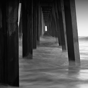 Pier by Katie McKinney - Black & White Buildings & Architecture ( water, contrast, piers, black and white, pier, sea, ocean, long exposure, beach, pillars )