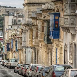 SLIEMA, MALTA by Julian Popov - Buildings & Architecture Homes ( blue, architecture, balcony, city )
