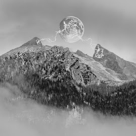 Mystic mountain by Christoph Reiter - Digital Art Places ( moon, mountain, strokes )