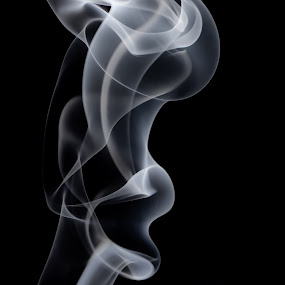 Side Profile by Kate Anthony - Abstract Fine Art ( black background, smokey, abstract profile, incense, smoke photography, lips, smoke, profile )