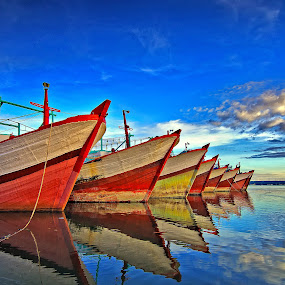 blue ocean by Herry Suwondo - Transportation Boats ( benoa, bali, blue, boats, reflections )
