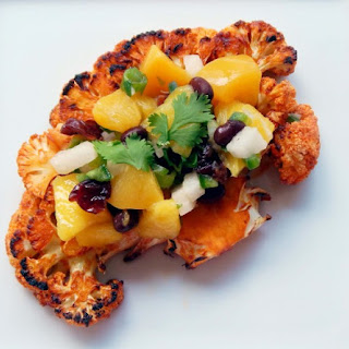 Grilled Cauliflower Steaks with Peach, Mango and Black Bean Salsa