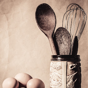 Missing ingredients by Lubelter Voy - Food & Drink Ingredients ( bowl, still life, bake, dairy, table, yolk, spoons. wood, whisk, eggs, food, background, glass, produces, brown, baking )