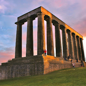 The National Monument Sunset by Scott Pirrie - Buildings & Architecture Statues & Monuments ( calton hill, edinburgh )