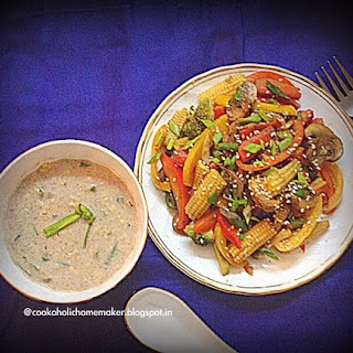 Finger Millet & Cream of Corn soup with Stir Fried Veggies