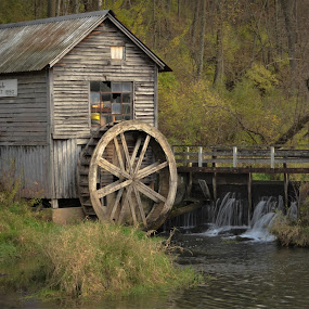 Hydes Mill by Robert Coffey - Buildings & Architecture Decaying & Abandoned ( water, mill, stream, wheel, dam, trees,  )