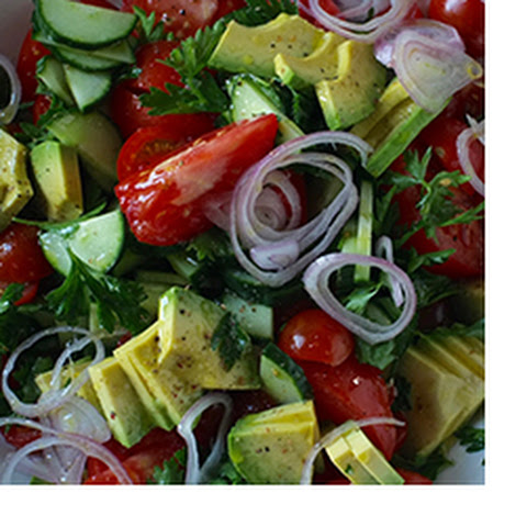 Tomato Salad with Cucumber, Avocado and Parsley