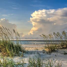 Summer Breeze by Chuck Lawhon - Landscapes Beaches ( clouds, dunes, ocean, beach, boat, ocean view )