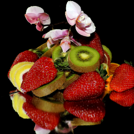 fruits with orchid by LADOCKi Elvira - Food & Drink Fruits & Vegetables ( flowers )