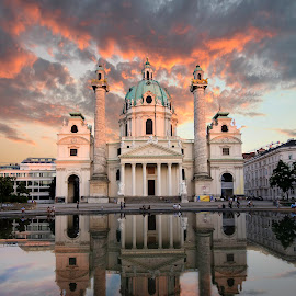 Karls kirche by Atanas Donev - Buildings & Architecture Public & Historical ( clouds, wien, church, reflections, austria )