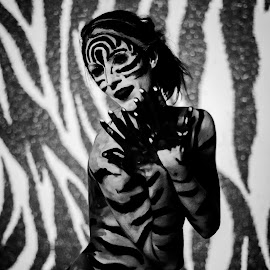 Zebra pattern jazz hands by Rob Casey - People Body Art/Tattoos ( b/w, girl, topless, color, black and white, naked, woman, highlighter, zebra, glow, body paint )