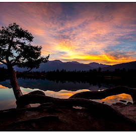 Welcoming us by Praveen Mathew - Landscapes Sunsets & Sunrises ( clouds, mountain, silhouette, lake, sunrise, lake and mountain )