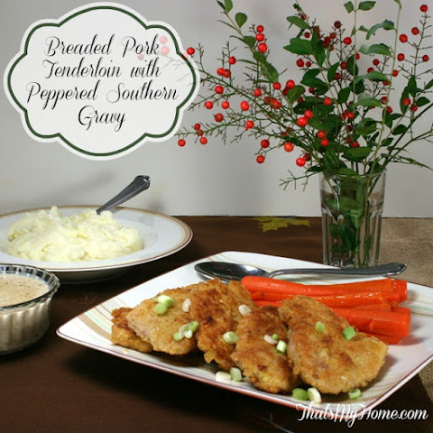 Breaded Pork Tenderloin with Peppered Southern Gravy