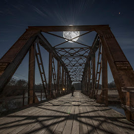 The bridge under the moon by Patric Rosberg - Buildings & Architecture Bridges & Suspended Structures ( sweden, structure, moon, building, ätran, scenic, road, people, moonlight, clear, landmark, sky, pattern, midnight, halland, full, stars, outdoor, full moon, bridge, light, river )