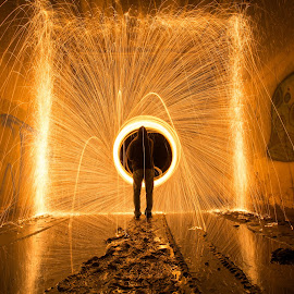 Portal by Givanni Mikel - Abstract Light Painting ( steel wool, steel, wool, fire, tunnel )
