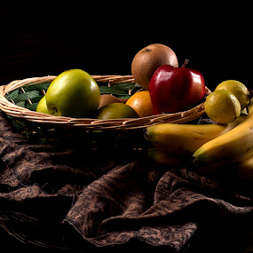Fruits and reflections by Cristobal Garciaferro Rubio - Food & Drink Fruits & Vegetables ( banana, fruit, apple, fruits, robe, pear )