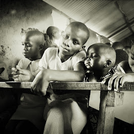 Learn  by Cyndi Rosenthal - Babies & Children Children Candids ( school, black and white, children, learning, africa )