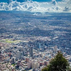 Bogota from Monserrate by Joe Larson - City,  Street & Park  Vistas ( bogota, colombia )