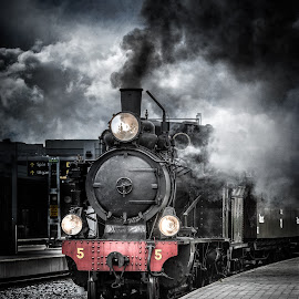 Slow Train Coming by Johan Lennartsson - Transportation Trains ( sweden, railway, station, engine, railroad, train, uppsala, smoke, steam,  )