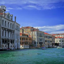 Grand Canal, Venice by Cristian Peša - City,  Street & Park  Vistas ( gondola, grand canal, venice canal, venice, sea, boat )