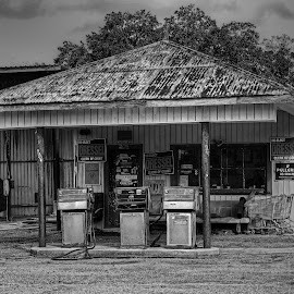 Old Gas Station by Ron Olivier - Black & White Buildings & Architecture ( old gas station )