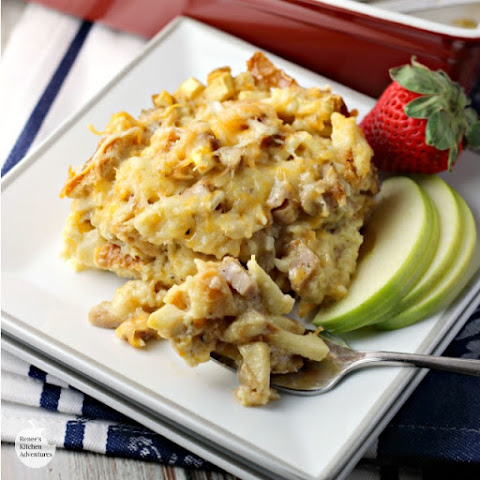 Chicken Sausage, Apple and Cheddar Breakfast Bake