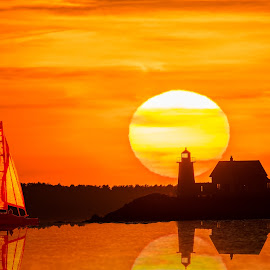 Setting Sun at Wings Neck Lighthouse by Carl Albro - Digital Art Places ( orange, lighthouse, seascape, sailboat, sun )