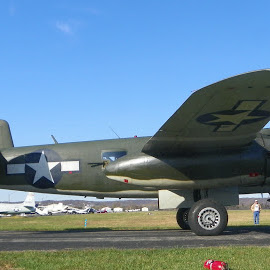 What a Beauty! by Sandy Stevens Krassinger - Transportation Airplanes ( army green, plane, airplane, bomber, duel prop, b-25, commemorative aircraft,  )