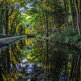 Canal Reflections by Stuart Lilley - Landscapes Waterscapes ( water, reflection, reflections, canal, cromford, relax, tranquil, relaxing, tranquility )