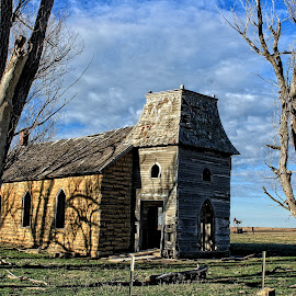 Kansas Country Church by Robert D Brozek - Buildings & Architecture Places of Worship ( limestone, clouds, church, wood, colorful, bright, white, country, fence, sky, tree, blue, cloud, trees, kansas )
