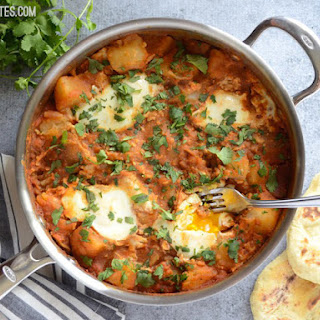 Curried Potatoes with Poached Eggs