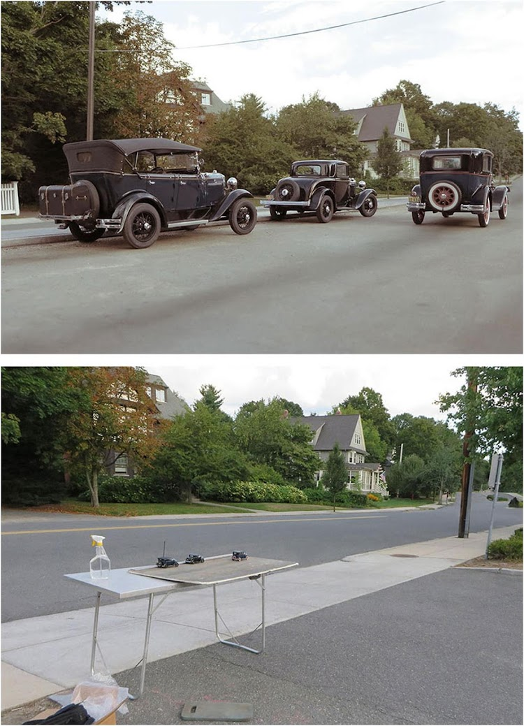 Miniature models of cars appeared in the form of a realistic historical snapshot