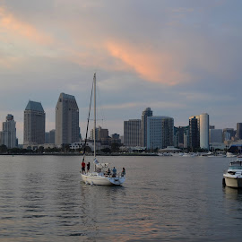 Sunset over the San Diego Bay by John Pobursky - City,  Street & Park  Skylines ( cityscapes, san_diego_bay, san_diego, sunsets, coronado )