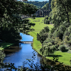 Vista over Studley Royal Water Gardens by Mandy Hedley - Landscapes Travel ( water, royal, studley, gardens, ripon )