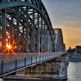 Bridge at Sunset by Matt Shell - Buildings & Architecture Bridges & Suspended Structures ( cologne, keys, sunset, germany, bridge )