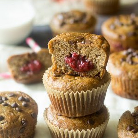 Almond Butter and Jelly Chocolate Chip Paleo Banana Muffins