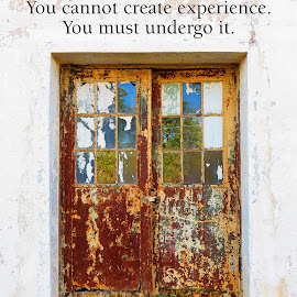 The Door of Experience by Susan Englert - Typography Quotes & Sentences ( door, rust, glass, peeling, reflection, aged, window, experience )