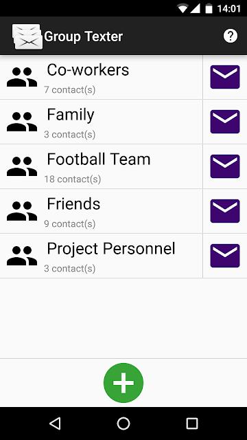 Group SMS Texter screenshots