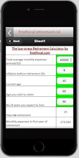 Freefincal Retirement Planner screenshot for Android