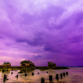 Low Tide by Bill MacLachlan - Landscapes Waterscapes ( clouds, coral, purple, posts, tide, ocean, okinawa, pillars )
