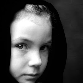 Young by Sandy Considine - Babies & Children Child Portraits ( monochrome, black and white, young girl )