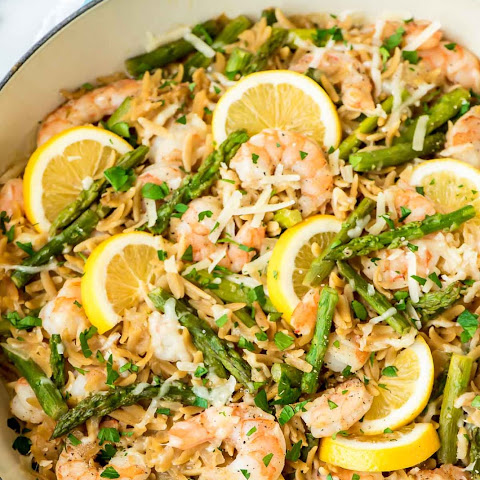 Lemon Shrimp Pasta with Orzo and Asparagus